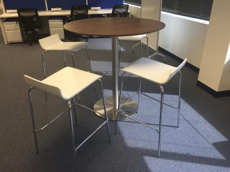 Bleeker Street High Top Cafe Breakroom or Meeting Table with 4 Bar Stools