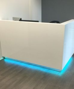 "Dali Reception Desk Available: Gloss Finish: Pure White, Light Gray, Dark Gray Laminates: White, Natural, Walnut, Smoked Gray, Charcoal Gray, Espresso, Black Price & Sizes: Small: Up to 60""W x 26""D x 43""H Medium: Up to 72""W x 26""D x 43""H Large: Please call for a quote Description: - Built to custom specifications - Commercial grade laminates - Matte, Semi-Gloss & High gloss paint options - Color changing LED light option - Wire management & grommet options - Custom colors available including Pantone color match Lead Time: This item is usually delivered within 15-20 business days."